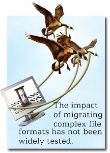 The impact of migrating complex file formats has not been widely tested.